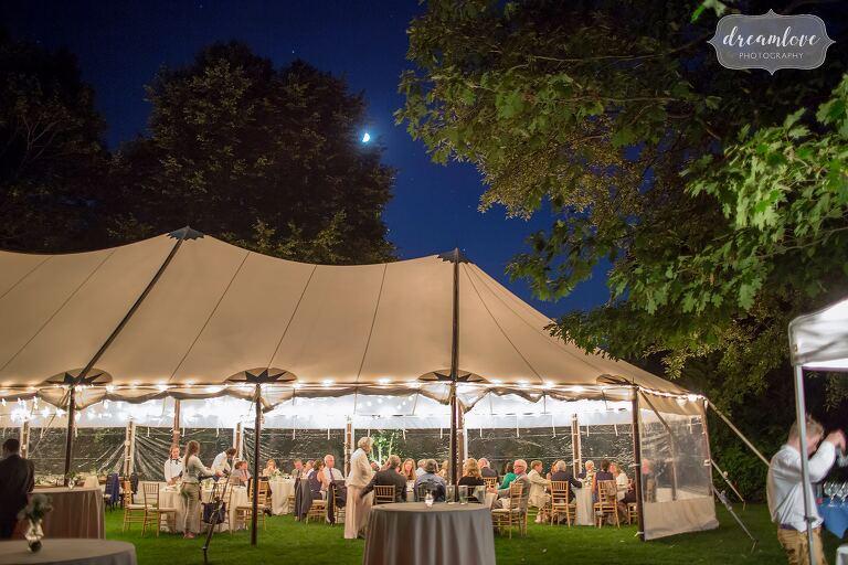 Beautiful tented wedding reception at Singing Beach.