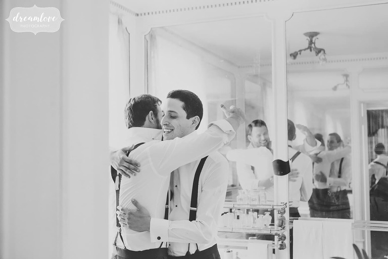 Fine art wedding photography at the Linden Place of guys getting ready.