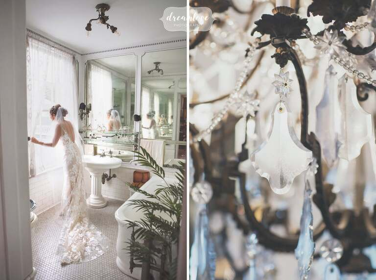 The bride looks out the window in this beautiful antique mansion wedding venue, the Linden Place in RI.
