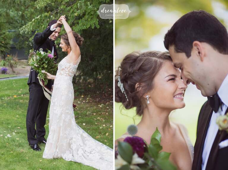 Romantic wedding pose with bride and groom foreheads together at the Linden Place in RI.
