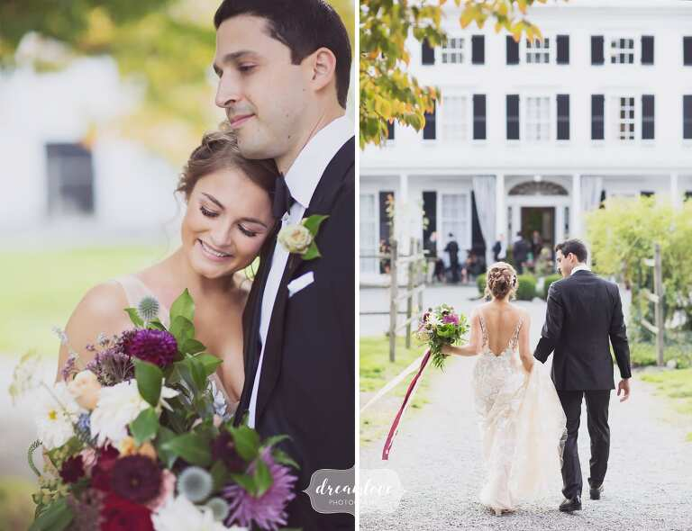 The bride and groom in front of this outdoor wedding venue in September in Bristol, RI.