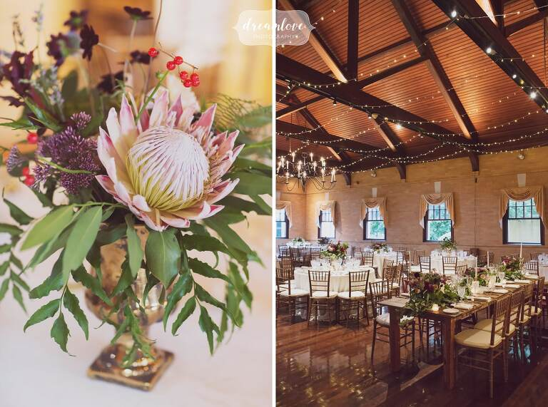 Rustic and exotic wedding centerpiece with protea flowers by Vicky Lee in RI.