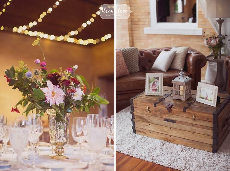 Vintage furniture set up in corner of Linden Place wedding venue.