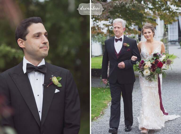 The father of the bride walks his daughter down the aisle at Linden Place.