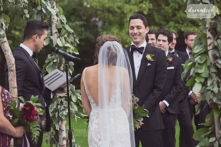 The happy groom during this outdoor wedding in Bristol, RI.