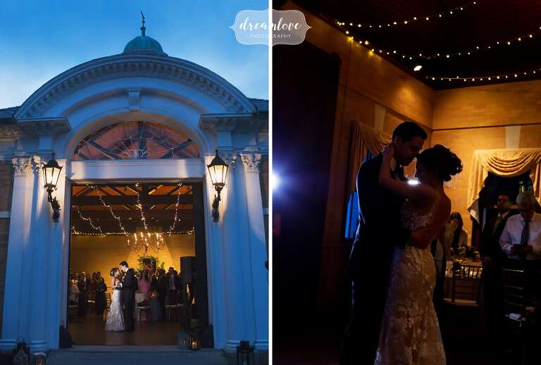 The couple has their first dance inside of a warmly lit room with blue twilight above them in RI.