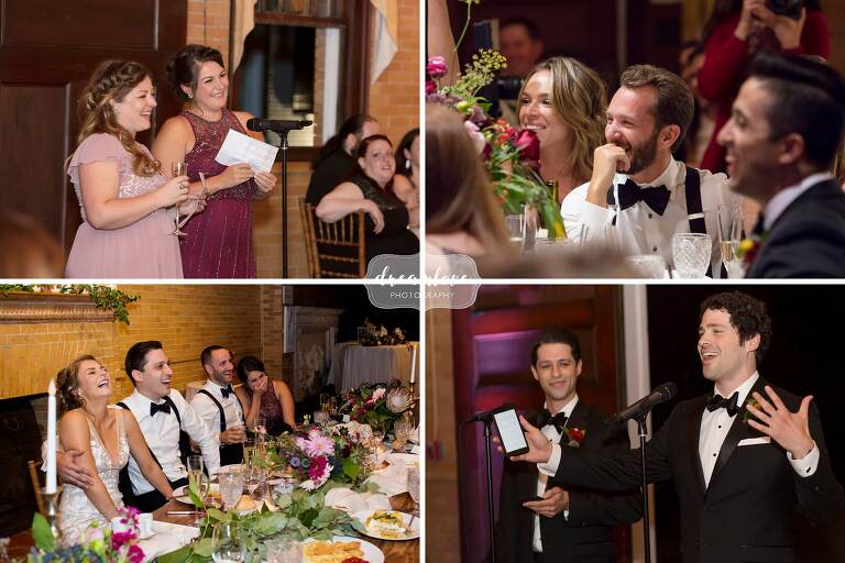 Funny wedding speeches at the Linden Place wedding reception.