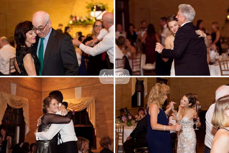 The bride and groom dance with parents at the Linden Place.