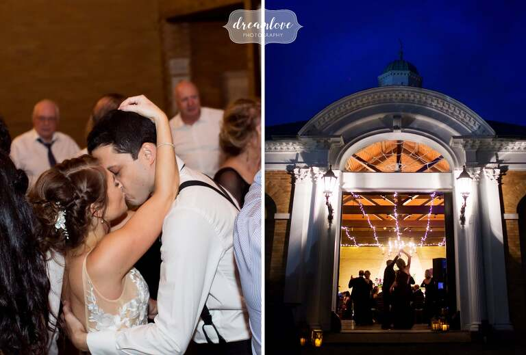 Artistic wedding photos during twilight at the Linden Place Mansion in RI.
