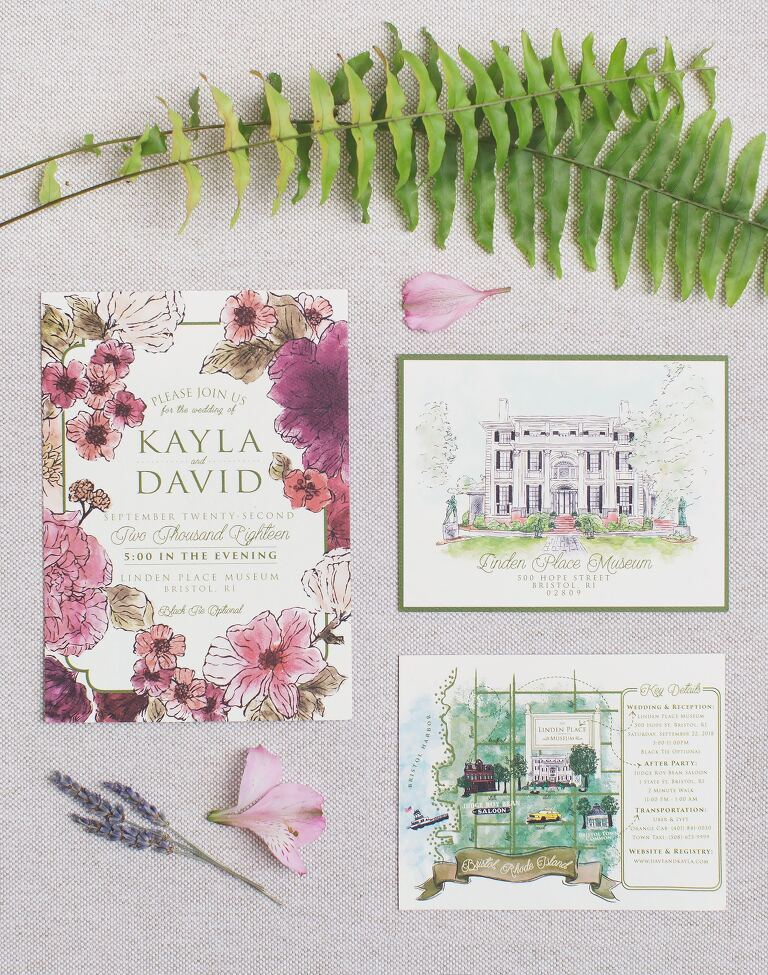 Gorgeous rustic floral wedding invitations for this Linden Place Museum wedding in RI.