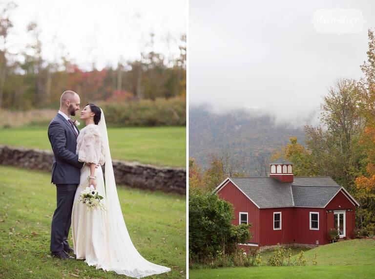 The bride and groom in this elegant Catskills backyard wedding in Roxbury, NY.