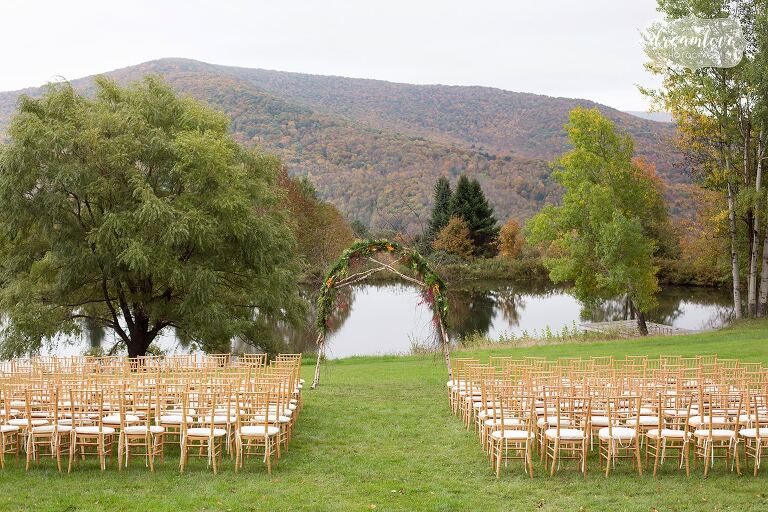 The outdoor ceremony space at this beautiful fall wedding in the Catskills.