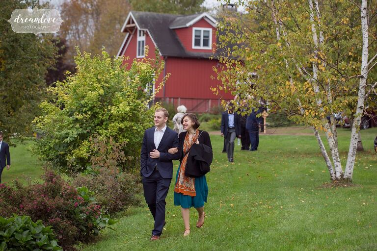 Guests arrive to this backyard wedding in the country in Roxbury, NY.