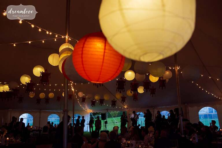 Asian American decor with red and white paper lanterns at this tented reception in the Catskills.