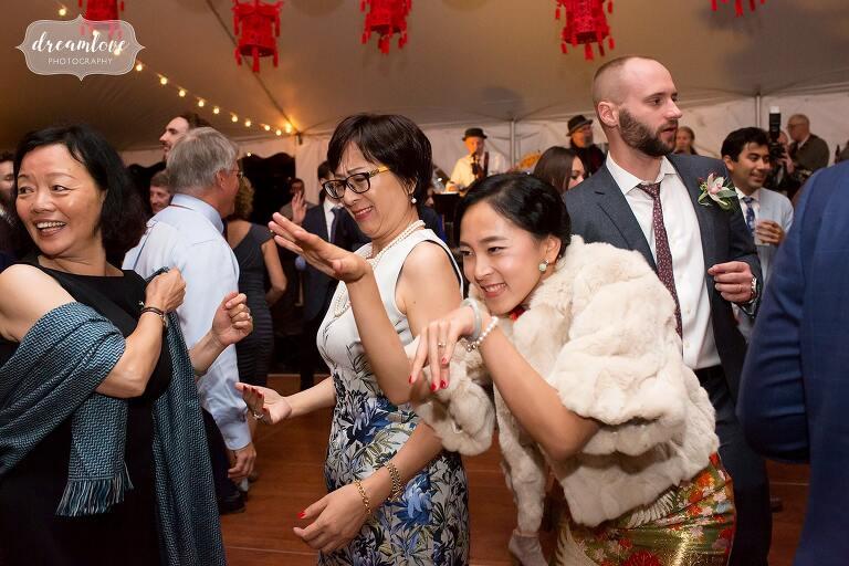 Bride crawl dances in Roxbury, NY.