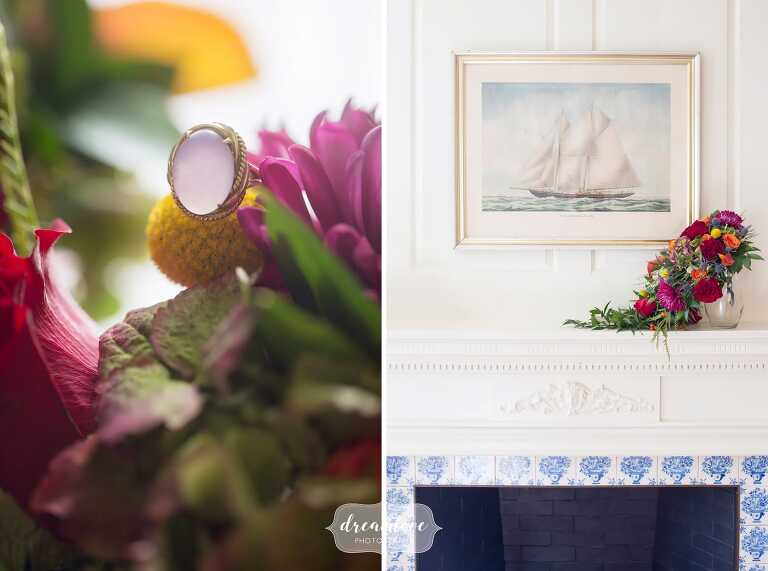 The bride's grandmother's antique ring at this Glen Magna Farms wedding.