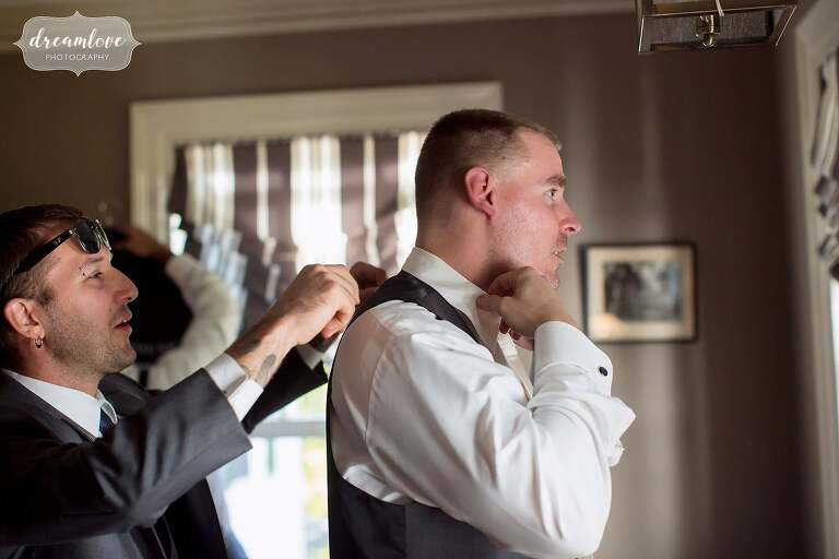 The groom prepares for the day at the Glen Magna mansion venue in Danvers, MA.