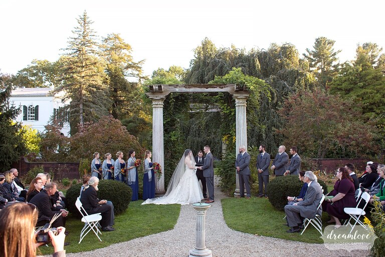 Fall wedding outside at the Glen Magna Farms in Danvers, MA.