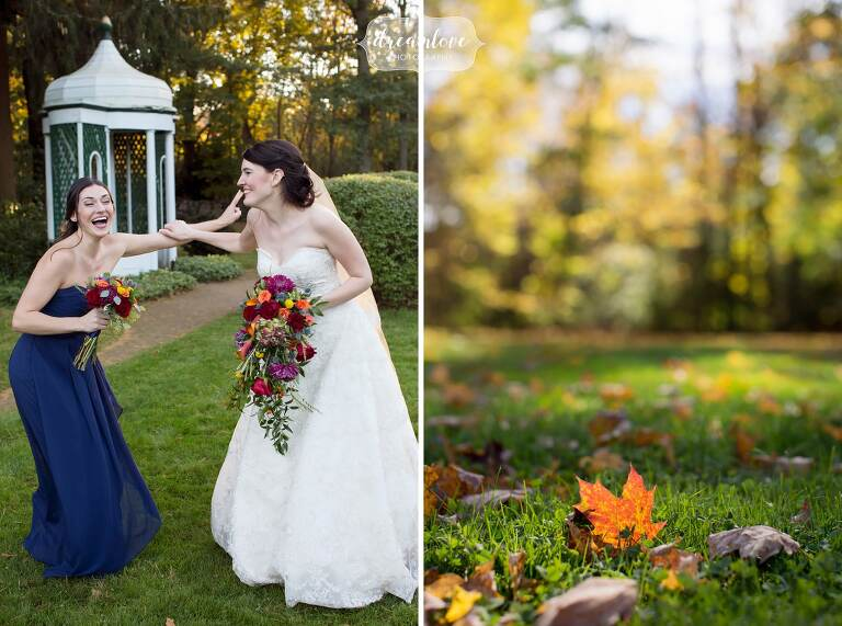 The bride laughing with her maid of honor at the Glen Magna Farms wedding.