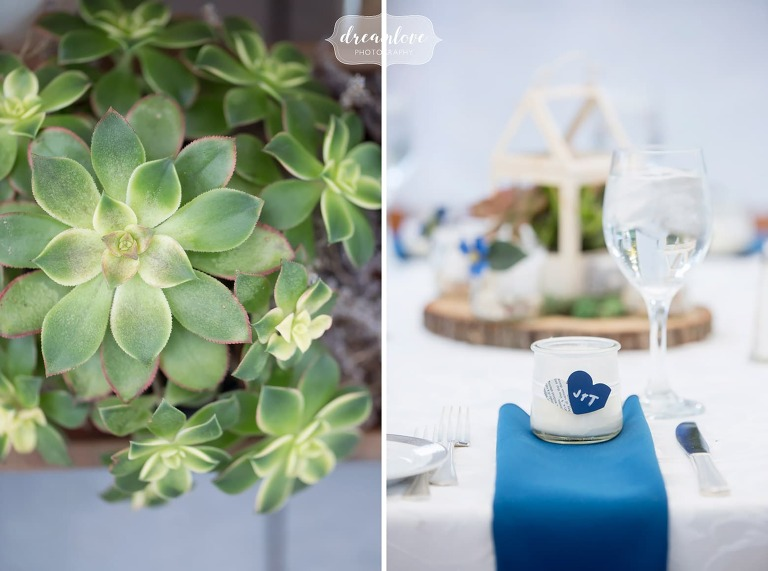 Succulents at this Glen Magna Farms wedding in Danvers, MA.