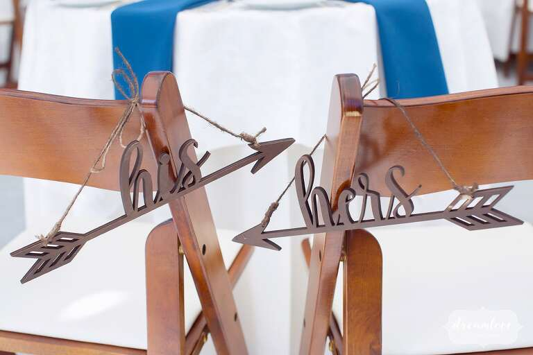 His and hers wedding arrows chair hangers at Glen Magna.