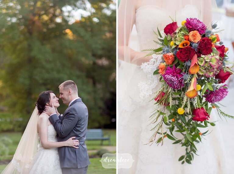 Cascading fall wedding bouquet at the Glen Magna Farms venue.
