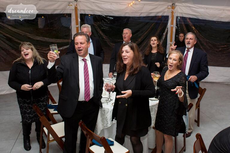 Guests sing at the Glen Magna Farms.