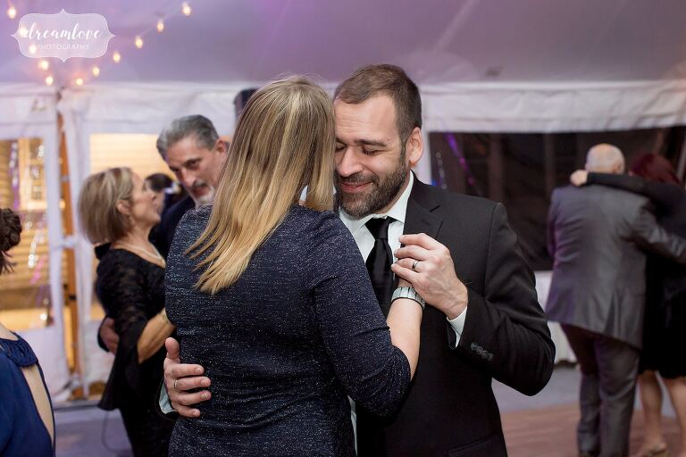 Guests dance for this Glen Magna tented reception.