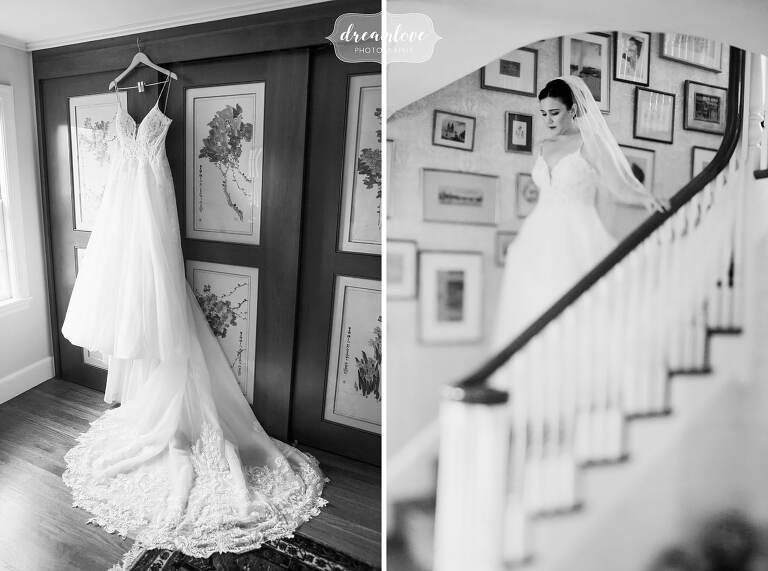 Fine art photography of bride in Newton, MA before her Jewish wedding at Temple Shir Tikva.