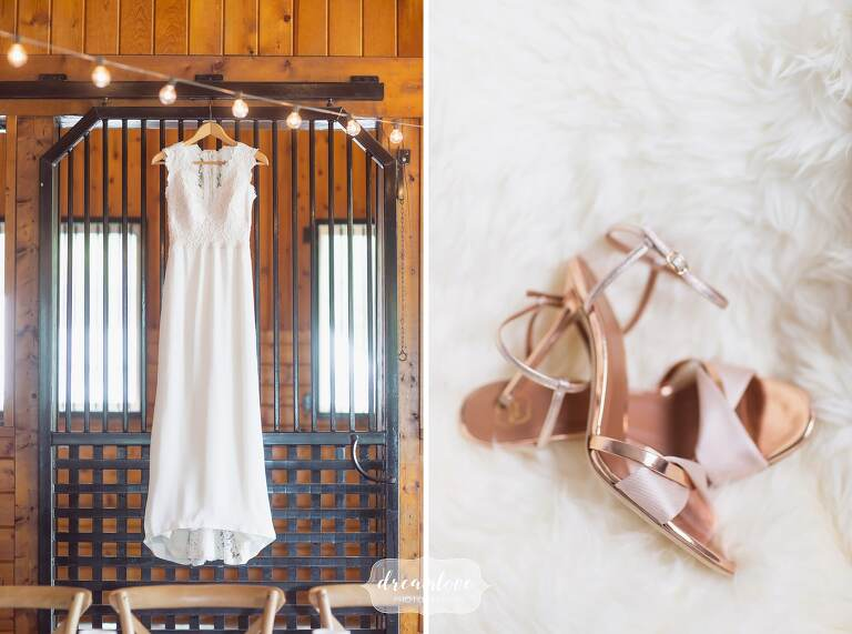 Hudson Valley wedding photographer artistic wedding dress and shoes.