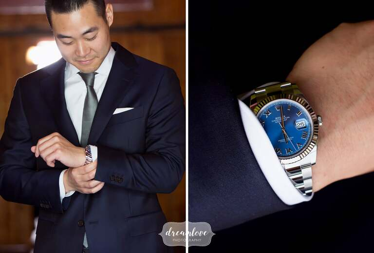 Groom putting on Rolex watch in Ghent, Ny.