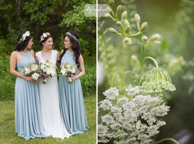 Bridesmaids in pale blue at the Barn at Liberty Farms venue.