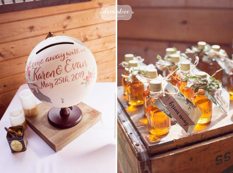 Anthropologie wedding decor with hand painted globe and maple syrup.