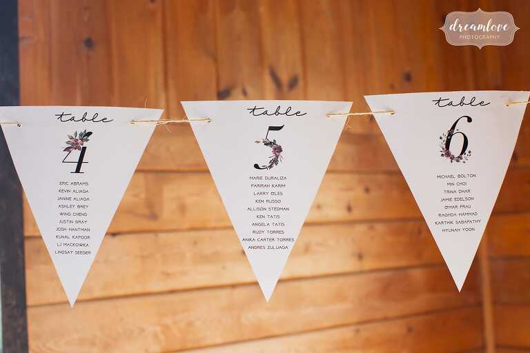 Paper pennants as seating chart for Anthropologie style wedding.