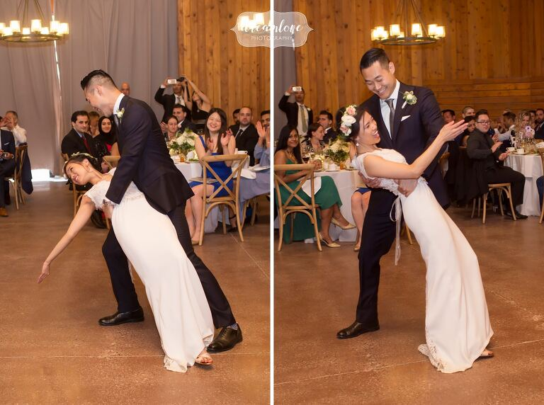 First dance moves at Barn wedding in Hudson Valley.