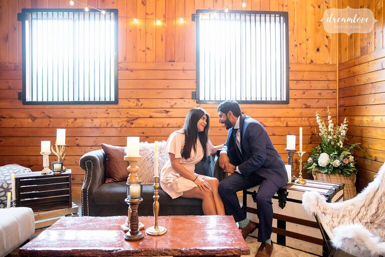 Guests enjoy lounge by A Charmed Affair at Barn venue in NY.
