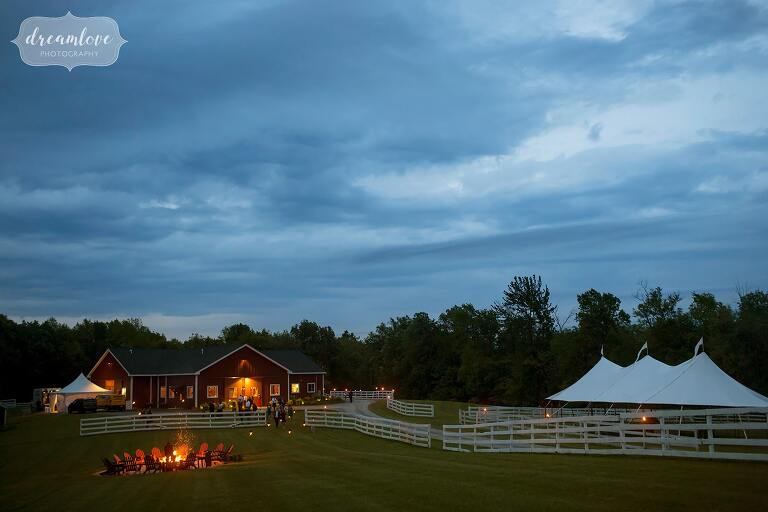 Twilight view of Barn at Liberty Farms wedding venue in Hudson Valley.