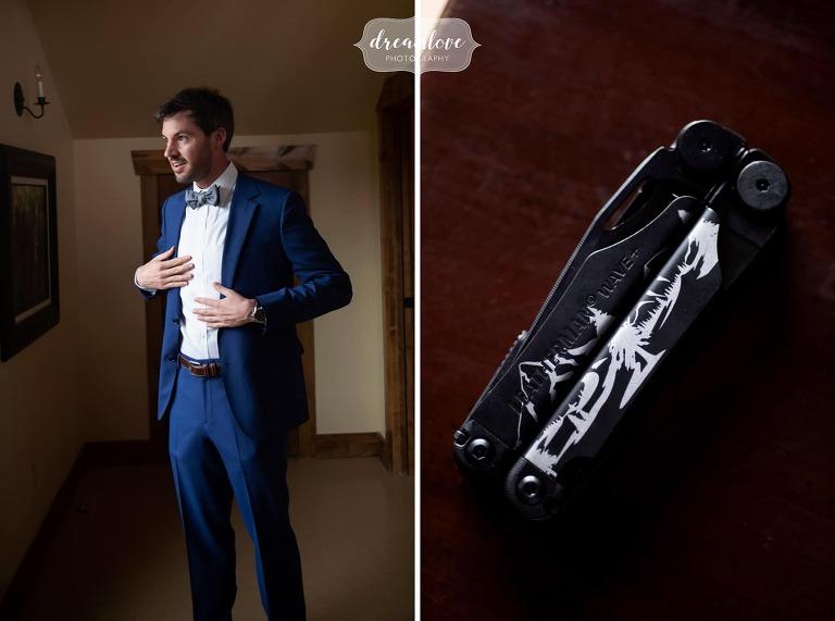 Groom gets blue suit on at Devil's Thumb wedding.