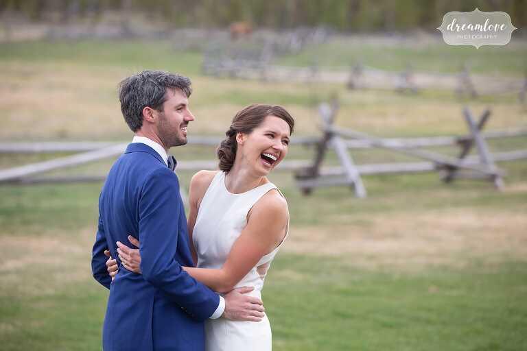Happy wedding photography at Devil's Thumb Ranch in Colorado.