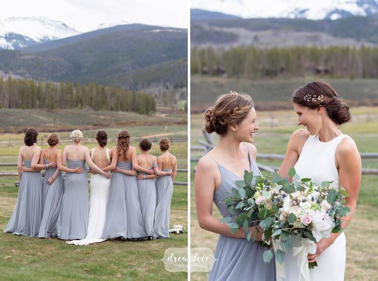 Back of bridesmaids with rocky mountains.