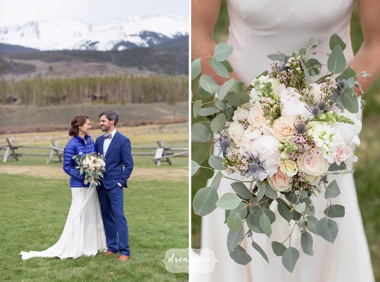 Bride wearing down Patagonia coat at Colorado mountain wedding.