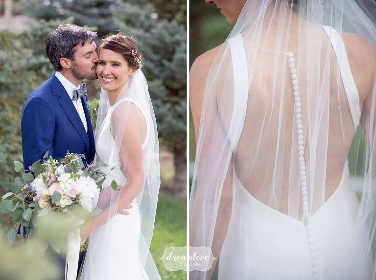 Romantic bride and groom pictures with veil at Devil's Thumb venue.