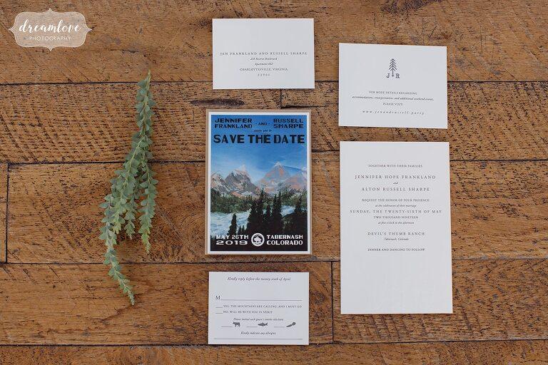 Colorado wedding invitations for Devil's Thumb wedding.