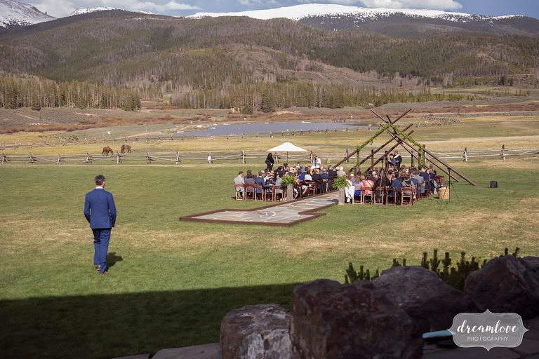 Scenic outdoor wedding ceremony space at Devil's Thumb Ranch in Colorado.