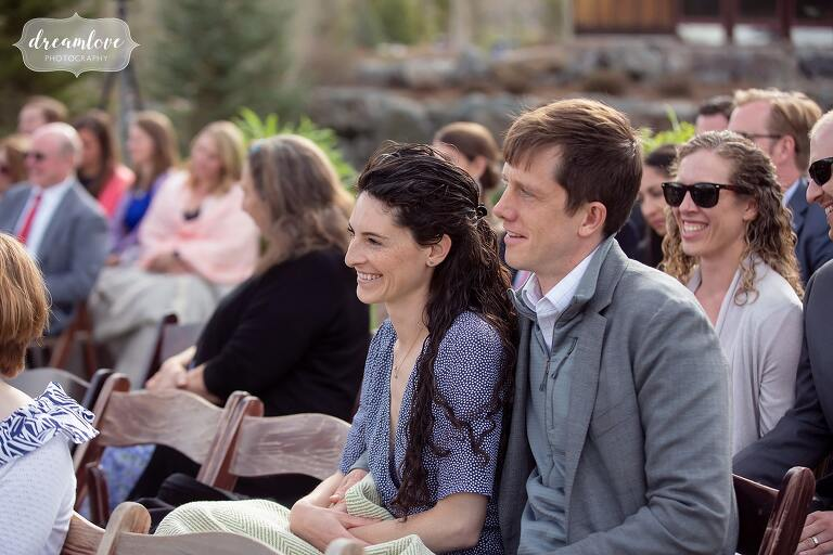 Documentary photography of wedding guests at Devil's Thumb.