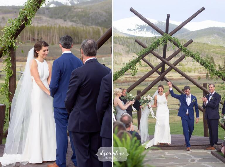 Just married at Devil's Thumb outdoor ceremony.