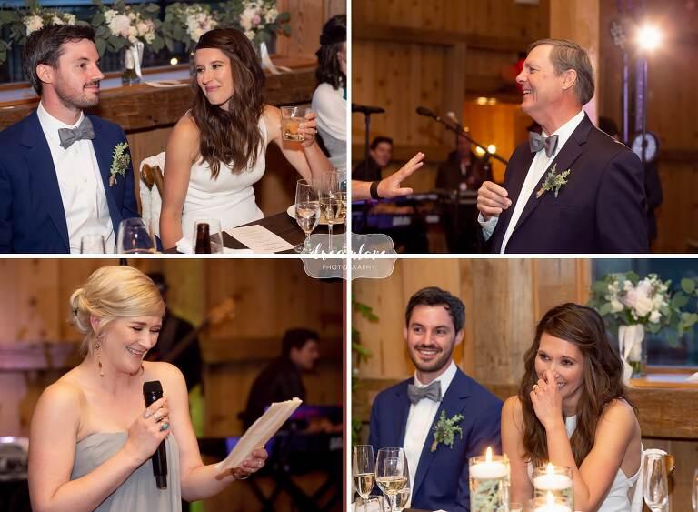 Wedding toasts at Colorado lodge wedding.