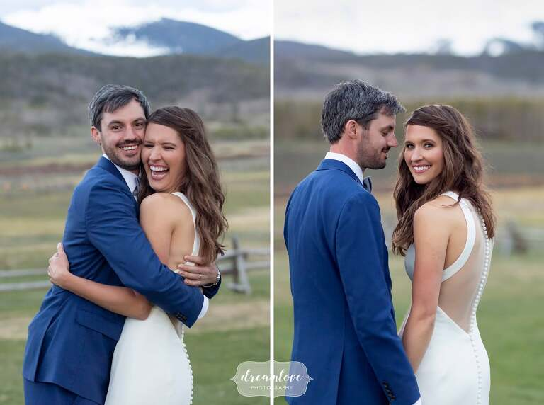 Joyful wedding photography of happy couple at Devil's Thumb Ranch.