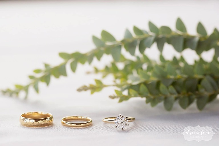 Simple wedding rings at Devil's Thumb Ranch.