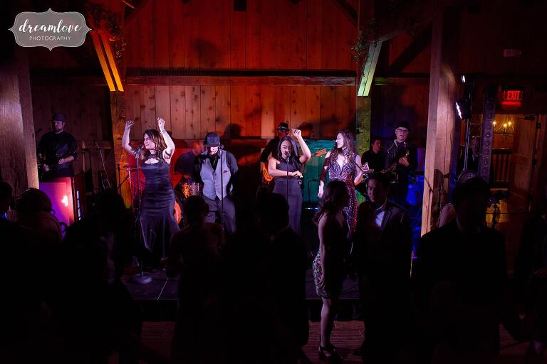 Band gets the crowd dancing at Devil's Thumb wedding near Winter Park, CO.